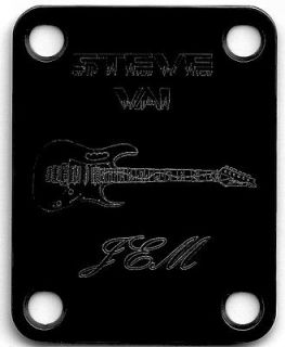 Parts NECK PLATE Custom Engraved   Ibanez Jem   STEVE VAI   BLACK