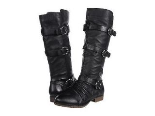 STEVE MADDEN Bennet BLACK Leather Tall Knee Boots Riding Shoes Flats