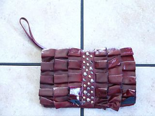STEVE MADDEN DARK RED CRINKLED LEATHER LIKE RUFFLE STUDDED CLUTCH