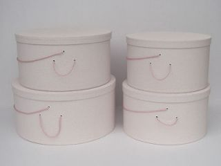 Genuine LINEN FABRIC X Large HAT BOXES   Millinery Stack of Four (4