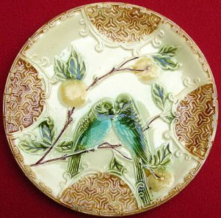 antique french salins majolica parakeets 12 plate c1880 from france
