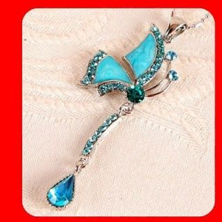 Newly listed Tinkerbell Blue Crystal Gift pendant necklace