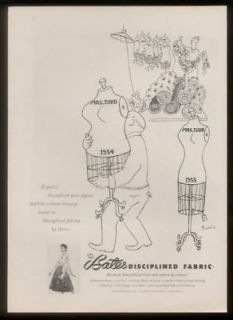 1955 dressmaker dummy cartoon bates fabric print ad time left