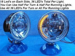 Stainless Steel LED Headlights Turn Signals / Running Lights Golf Cart