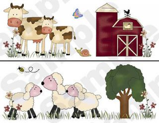 ANIMALS SHEEP BABY NURSERY KIDS ROOM WALL BORDER STICKERS DECALS DECOR