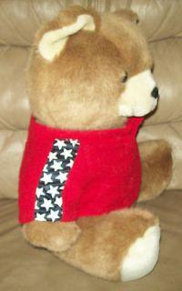 Sitting Brown Plush Teddy Bear in Red Sweater w/ Stars Stuffed Animal
