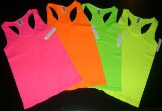 Bright NEON Pink~Yellow~Green~Orange Ladies Racerback Tank Top Lot of