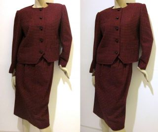 Auth NINA RICCI Paris MAD MEN Red WOOL HOUNDSTOOTH 2 Pc SKIRT Suit M/L
