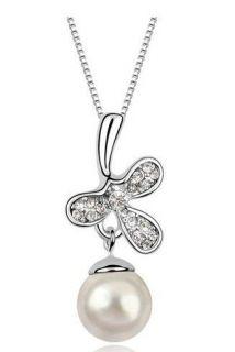Hot Selling Noble Fashion Swarovski Crystal Penadant Necklace 2colour