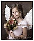 Up Pointing Angel Fairy Dove Swan Macaw costume feather wings w/halo
