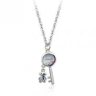 Swarovski Elements Crystal Tous Style Bear Necklace White Gold GP 18