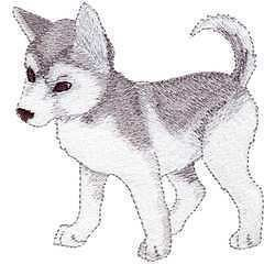 baby siberian alaskan husky dog puppy iron on patch time