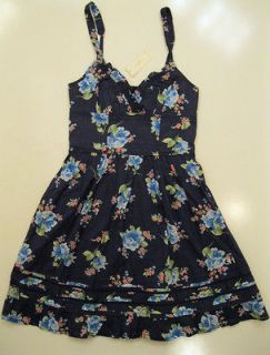 NWT Gilly Hicks Abercrombie Floral Sydney Summer/Spring Dress Navy