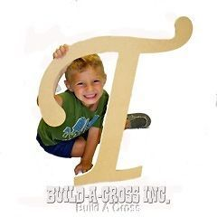 Unfinished Wooden Letter (T) 24 Big Paintable Cutout Craft Letters