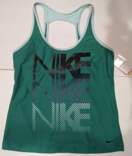 nike womens green fit dry bra support tank size xl nwt