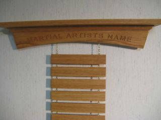Oak Martial Arts Belt Display Rack,Karate, Tae Kwon Do, Made in USA