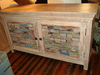 Multi Color Reclaimed Wood Brick Style Cabinet Plasma/TV Console