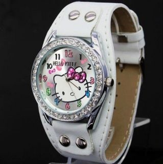 Silicone Crystal hellokitty Girls Ladies Wrist Watch Quartz Best Gift