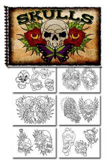 tattoo supplies reference book flash skulls cross bones one day