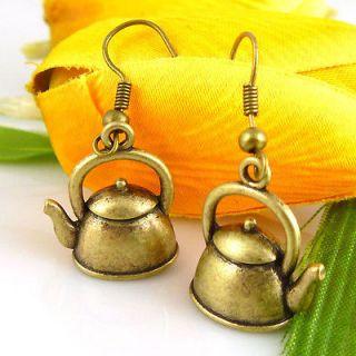 HOT Wholesale Lady 12Pair/Lot Charm Fashion Jewellery Copper Teapot
