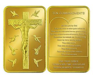 CHRIST .999 24k GOLD CLAD TROY OUNCE ART BAR TEN COMMANDMENTS CROSS