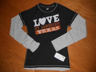 NWT UT Texas Longhorns Cotton Long Sleeve T Shirt Jr Medium LOVE