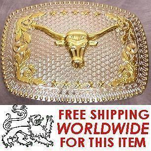 oversized 2 tone metal belt buckle texas longhorn new