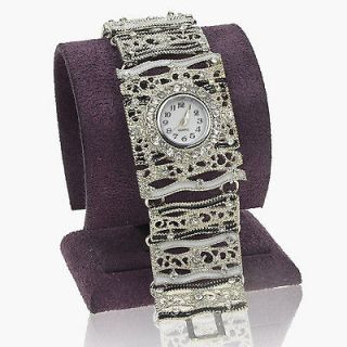 White Gold Plated GP Wide Ladies Crystal Enamel Bangle Watch JXA1286K
