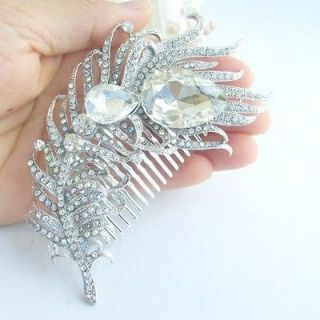 Tiara Bridal Peacock Feather Hair Comb w Clear Rhinestone Crystals