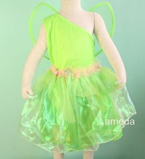 HALLOWEEN TINKERBELL DRESS WINGS COSTUME 2PC OUTFIT BIRTHDAY PARTY 4