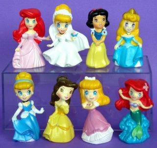 Princesses Cinderella Belle Snow White Figures Toys 8pc Cake Topper