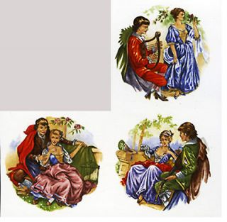romantic scenes round ceramic decal transfer 5x5cm 2 x