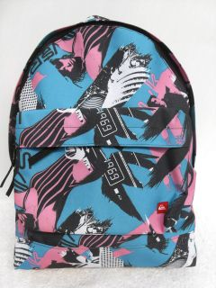 Quiksilver A4 Backpack School Book Bag Travel Case Blue/Pink Girls