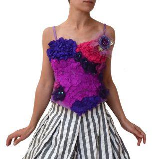 new trelise cooper purple pink silk ruffle rosette dress top
