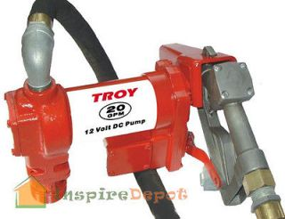 TROY 20 GPM HD 12V Fuel Transfer Pump w/ Hose Diesel Gas Gasoline
