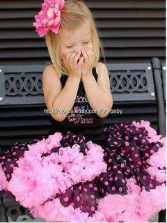 Black pink dots Children baby toddler Girls skirt bows Pettiskirt Tutu