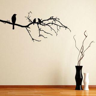 Blackbird On A Branch Tree Twig Wall Sticker Decal Transfer Vinyl 22