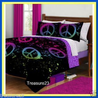 peace signs girls teen twin bed in a bag bedding