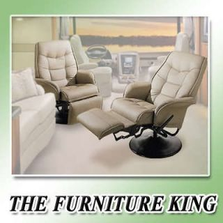 TAN BONE LEATHERETTE RECLINERS CAPTAINS CHAIRS SEAT SWIVEL RV BOAT