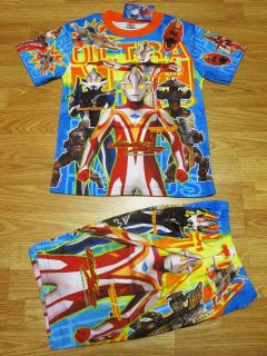 ultraman mebius t shirt shorts 055 blue 4 age 3 4