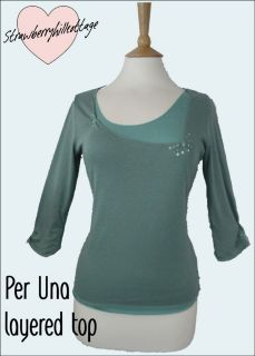 Ex Per Una by M&S teal green double layered three quarter sleeve t