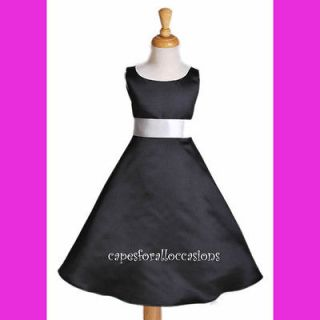 BLACK WHITE BRIDESMAID WEDDING FLOWER GIRL DRESS 12M 18M 2 2T 3 4 5 6
