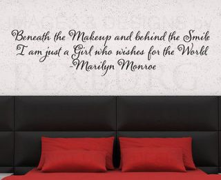 Wall Decal Sticker Quote Vinyl Lettering Beneath the Makeup Marilyn