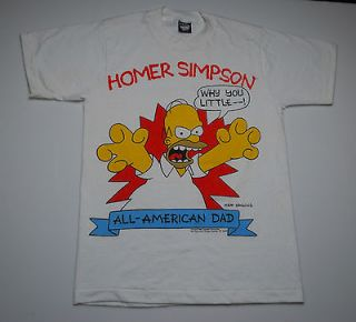 VINTAGE THE SIMPSONS HOMER SIMPSON ALL AMERICAN DAD 90 T  SHIRT 1990