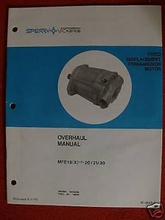 1978 sperry vickers fixed transmission overhaul manual