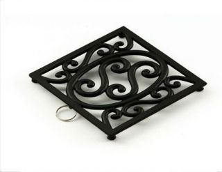 black cast iron trivet hot pot stand holder rack pan