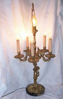 solid brass european figural candelabra lamp 6 light time left