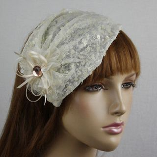 BEIGE SEQUINS RIBBON LACE FLOWER HEADBAND HAIR HAT #HP174