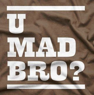 funny novelty party cool u mad bro cotton t shirt xl brown