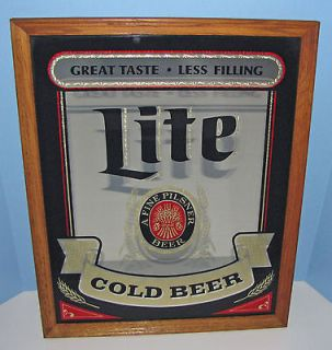 VINTAGE LITE BEER SIGN LARGE SIZE BAR MIRROR PILSNER BEER OAK FRAME